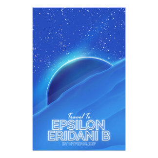 Epsilon Eridani b sci-fi Travel poster Stationery