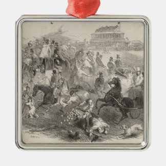 Epsom Races, 'Derby Day': Leaving the Course Silver-Colored Square Decoration
