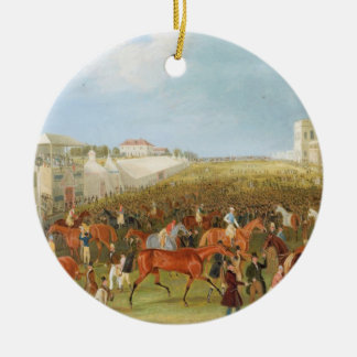Epsom Races: The Race Over (oil on canvas) Round Ceramic Decoration