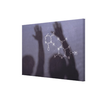 Equation chalkboard with shadows of students canvas print