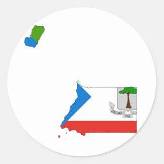 Equatorial Guinea Flag Map GQ Classic Round Sticker