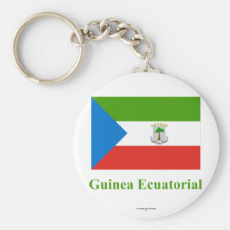 Equatorial Guinea Flag with Name in Spanish Basic Round Button Key Ring