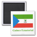Equatorial Guinea Flag with Name in Spanish Square Magnet