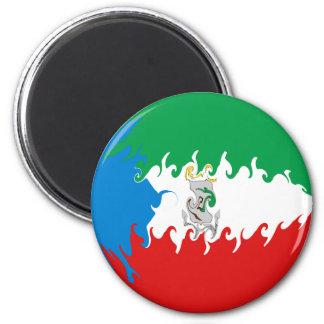 Equatorial Guinea Gnarly Flag 6 Cm Round Magnet