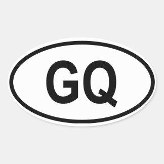 """Equatorial Guinea """"GQ"""" Oval Sticker"""