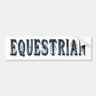 Equestrian blue black text bumper sticker