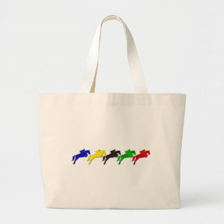 Equestrian dressage and show jumping horse large tote bag
