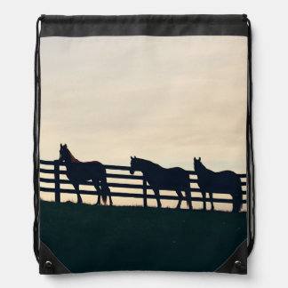 Equestrian Horses at the Pasture Fence Drawstring Bags