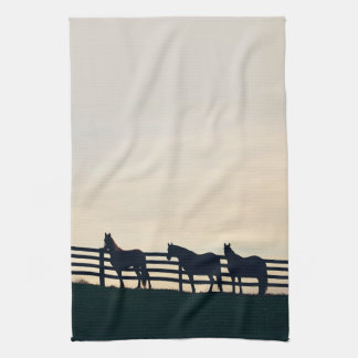 Equestrian Horses at the Pasture Fence Tea Towel