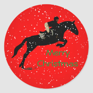 Equestrian Jumpin Great Christmas Classic Round Sticker
