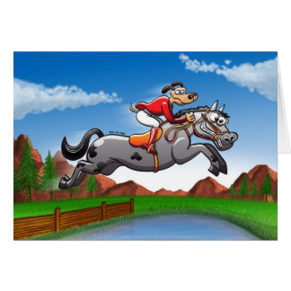 Equestrian Jumping Dog Greeting Card
