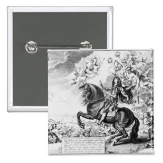 Equestrian Portrait of Charles II  with Gods 15 Cm Square Badge