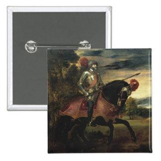 Equestrian Portrait of Charles V 15 Cm Square Badge