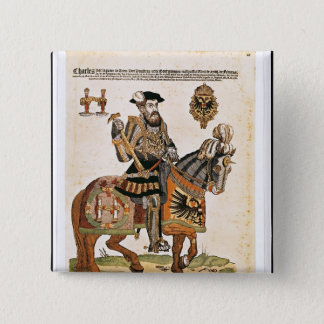 Equestrian portrait of Charles V in armour 15 Cm Square Badge
