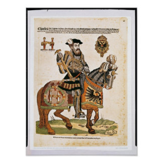 Equestrian portrait of Charles V in armour Poster