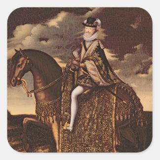Equestrian Portrait of Henri IV Square Sticker