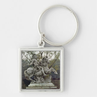 Equestrian Portrait of Louis XIV 2 Silver-Colored Square Key Ring
