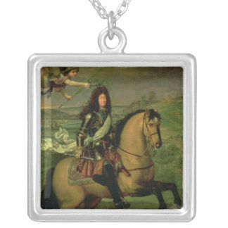 Equestrian Portrait of Louis XIV Silver Plated Necklace