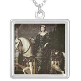Equestrian Portrait of Marie de Medici Silver Plated Necklace