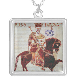 Equestrian portrait of Pepin  King of Italy Silver Plated Necklace
