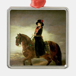 Equestrian portrait of Queen Maria Luisa Silver-Colored Square Decoration