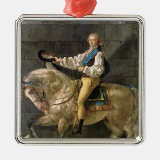 Equestrian Portrait of Stanislas Kostka Silver-Colored Square Decoration