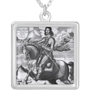 Equestrian portrait silver plated necklace