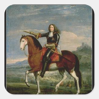 Equestrian Portrait Square Sticker