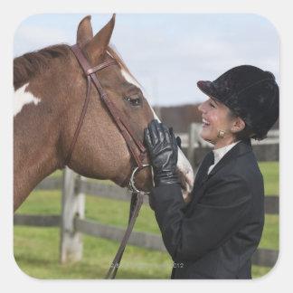 Equestrian rider square sticker
