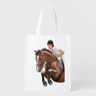 Equestrian Show Jumper Horse Grocery Bag