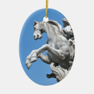 Equestrian statue ceramic oval decoration