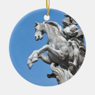 Equestrian statue round ceramic decoration