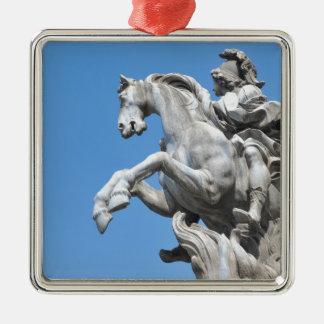 Equestrian statue Silver-Colored square decoration