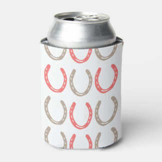 Equestrian Themed Horse Shoes Pattern Can Cooler