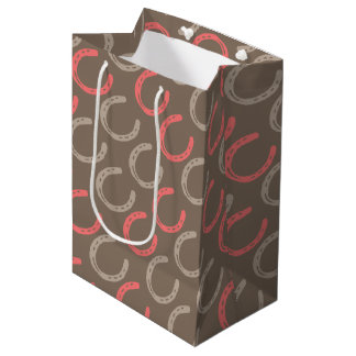 Equestrian Themed Horse Shoes Pattern Medium Gift Bag
