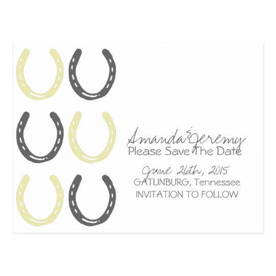 Equestrian Themed Horse Shoes Save The Date Postcard