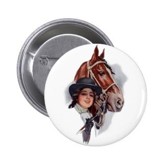Equestrian Woman 6 Cm Round Badge