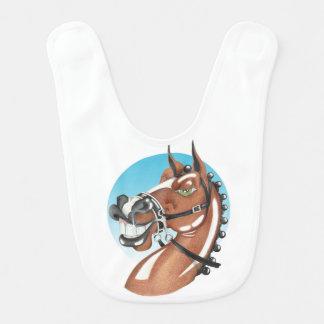 Equi-toons 'Kerching'! brown horse babies bib. Bib