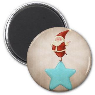 Equilibrist Santa Claus 6 Cm Round Magnet