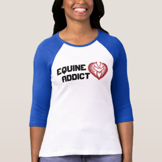 Equine Addict Horse Head Raglin Ladies T-Shirt