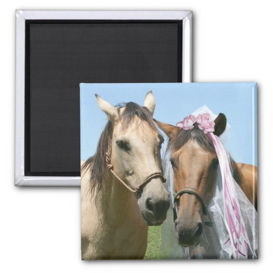 Equine bride and groom square magnet