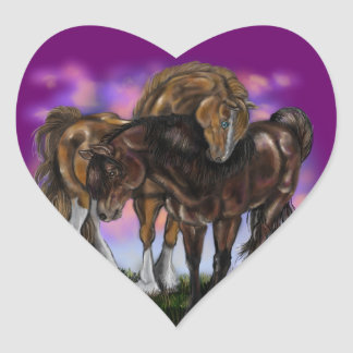 Equine Devotion~ sunset horses stickers