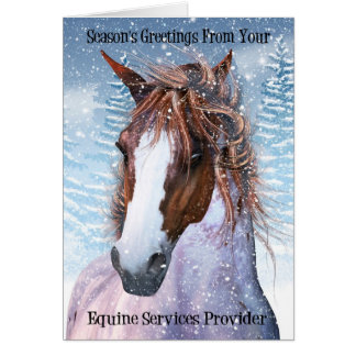 Equine Service Provider Horse In The Winter Snow Greeting Card