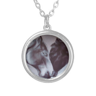Equine Valentine Necklace.  Horse Jewellery. Silver Plated Necklace