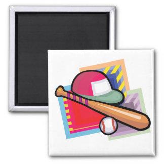 Equipment Baseball Square Magnet