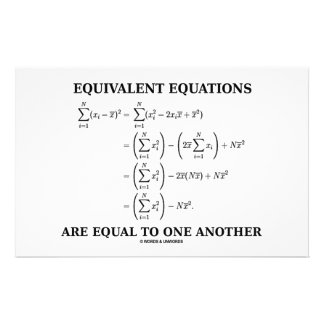 Equivalent Equations Are Equal To One Another Customised Stationery