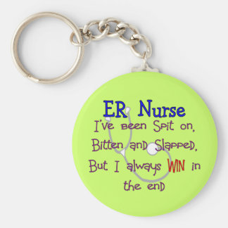 "ER Nurse ""SPIT ON BITTEN  and SLAPPED"" Basic Round Button Key Ring"