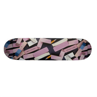 Erasers and pencils for school children skate board