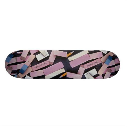 Erasers and pencils for school children skateboards