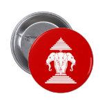 Erawan Three Headed Elephant Lao / Laos Flag 6 Cm Round Badge